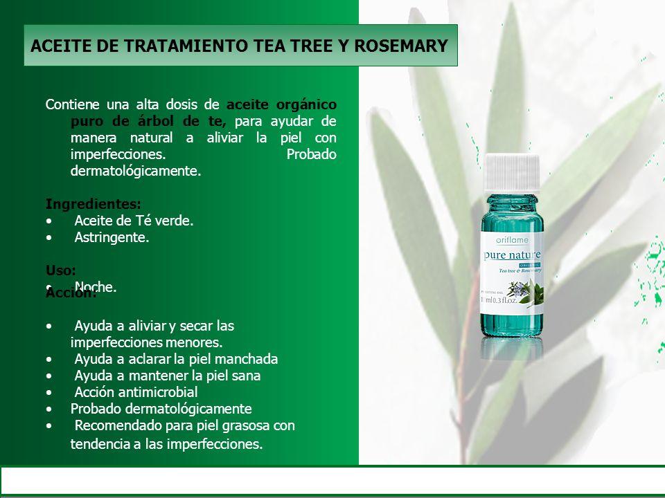 ACEITE DE TRATAMIENTO TEA TREE Y ROSEMARY Contiene una alta dosis de aceite orgánico puro de árbol de te, para ayudar de manera natural a aliviar la p