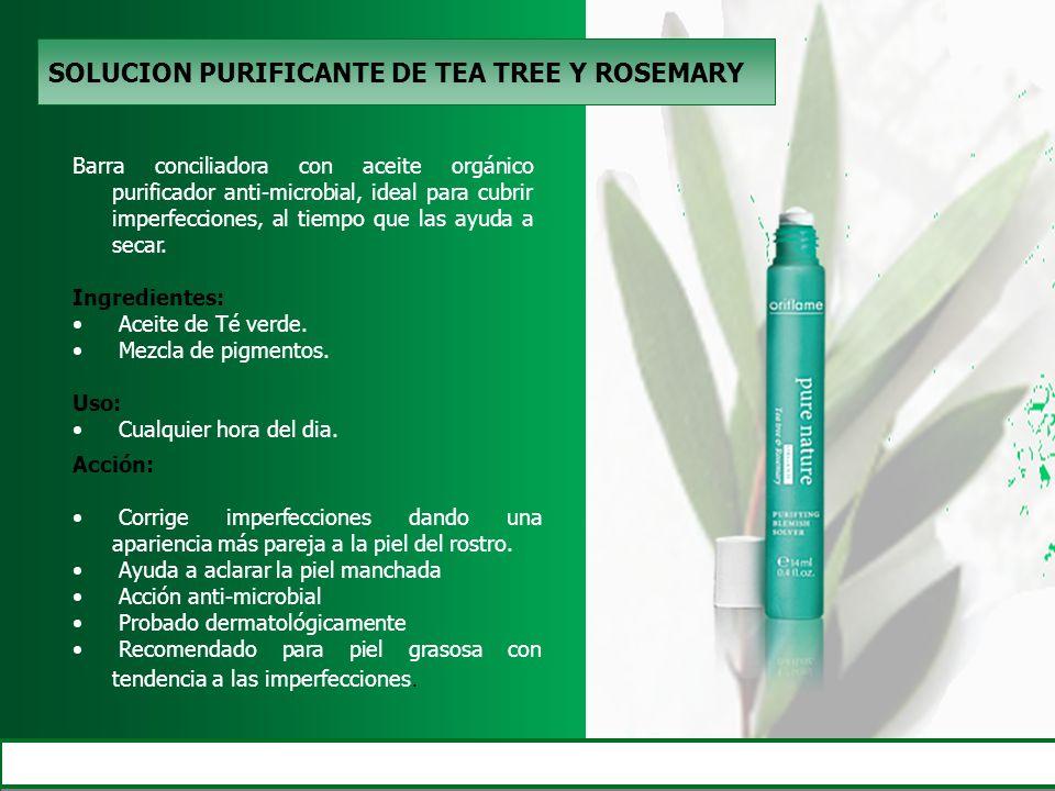SOLUCION PURIFICANTE DE TEA TREE Y ROSEMARY Barra conciliadora con aceite orgánico purificador anti-microbial, ideal para cubrir imperfecciones, al ti