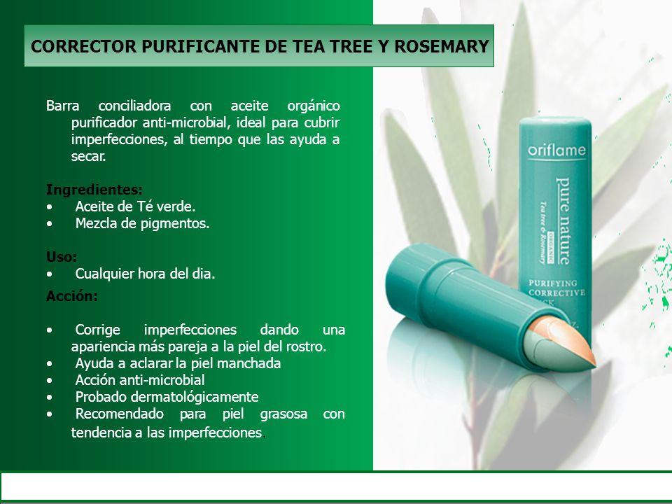 CORRECTOR PURIFICANTE DE TEA TREE Y ROSEMARY Barra conciliadora con aceite orgánico purificador anti-microbial, ideal para cubrir imperfecciones, al t