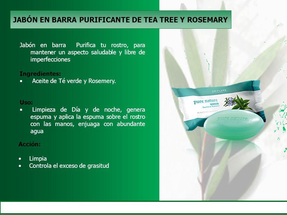 JABÓN EN BARRA PURIFICANTE DE TEA TREE Y ROSEMARY Jabón en barra Purifica tu rostro, para mantener un aspecto saludable y libre de imperfecciones Ingr
