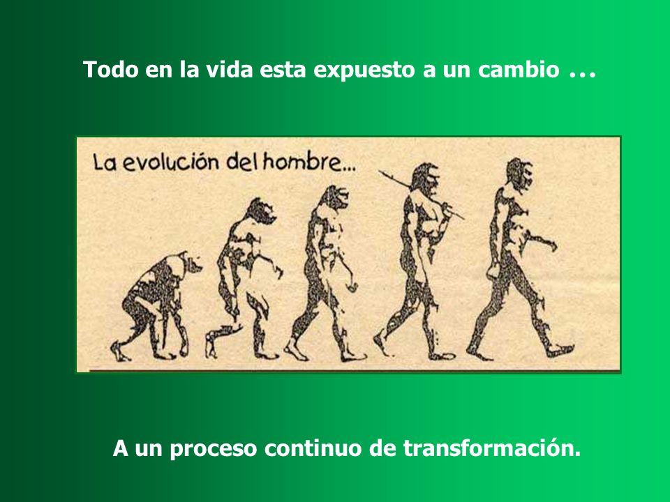 Todo en la vida esta expuesto a un cambio … A un proceso continuo de transformación.