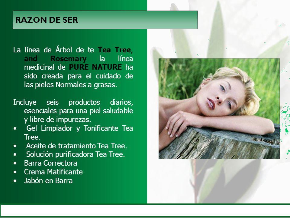 La línea de Árbol de te Tea Tree, and Rosemary la línea medicinal de PURE NATURE ha sido creada para el cuidado de las pieles Normales a grasas. Inclu