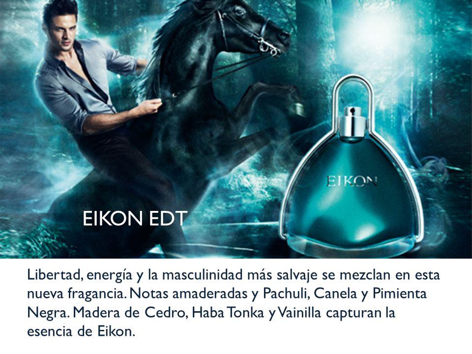 EIKON EDT Libertad, energía y la masculinidad más salvaje se mezclan en esta nueva fragancia. Notas amaderadas y Pachuli, Canela y Pimienta Negra. Mad