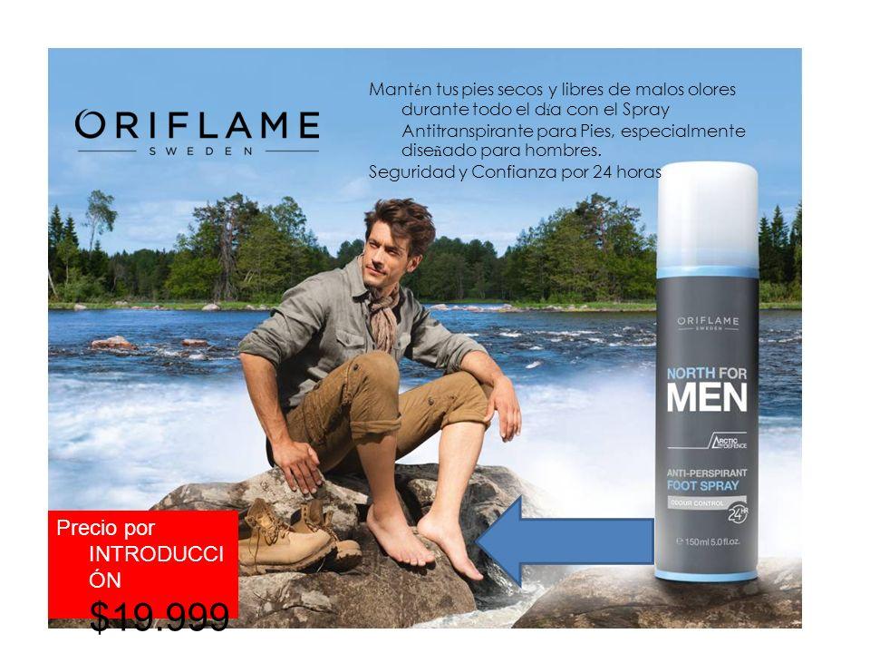 Mant é n tus pies secos y libres de malos olores durante todo el d í a con el Spray Antitranspirante para Pies, especialmente dise ñ ado para hombres.