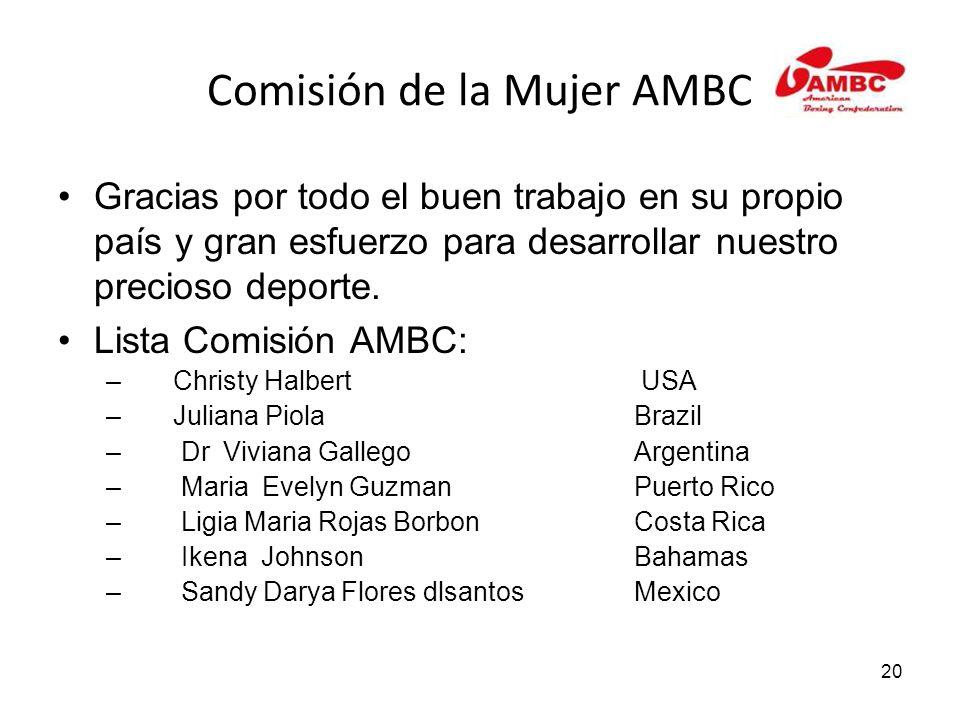 20 Comisión de la Mujer AMBC Gracias por todo el buen trabajo en su propio país y gran esfuerzo para desarrollar nuestro precioso deporte.