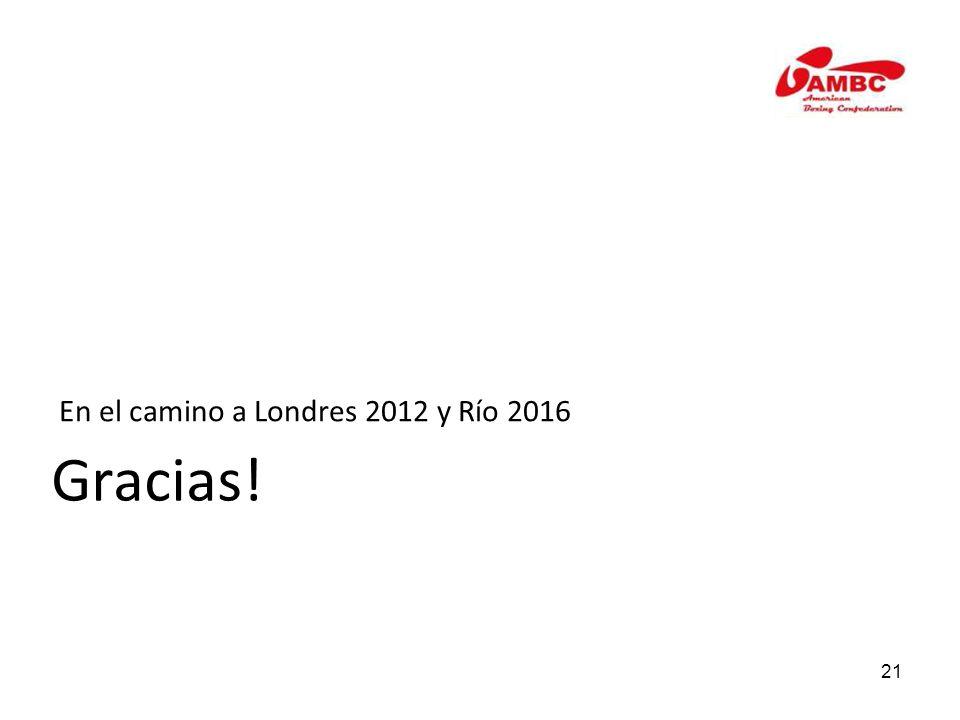 21 En el camino a Londres 2012 y Río 2016 Gracias!