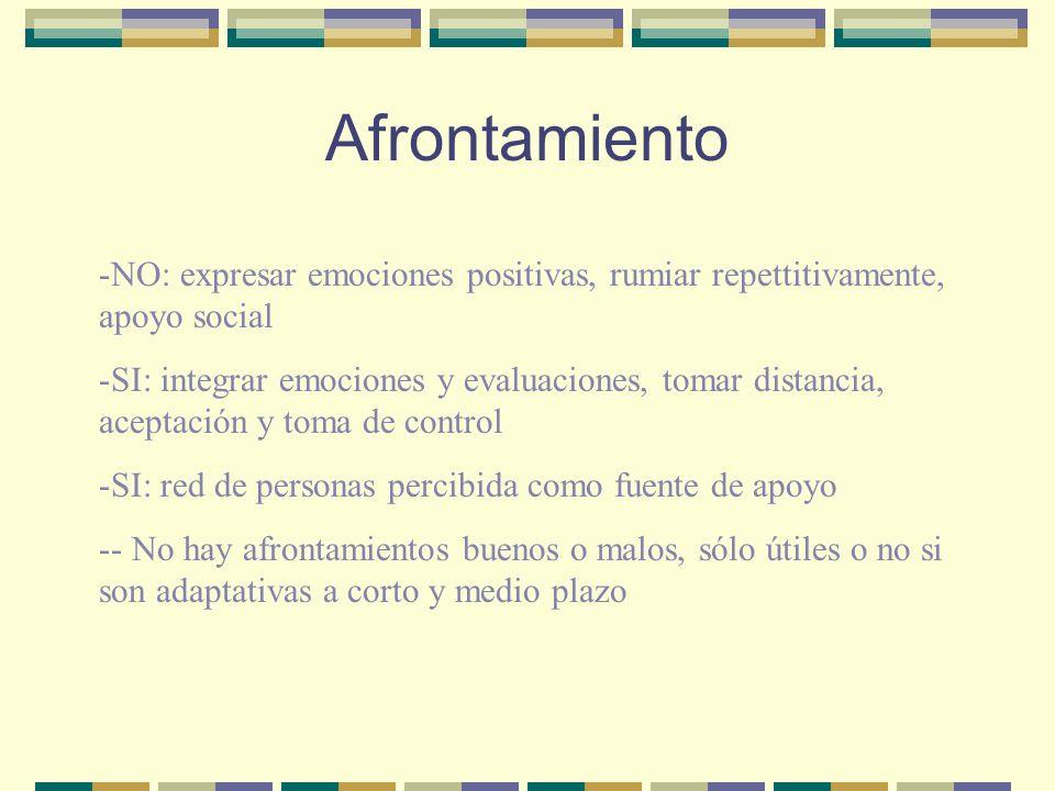 Afrontamiento -NO: expresar emociones positivas, rumiar repettitivamente, apoyo social -SI: integrar emociones y evaluaciones, tomar distancia, acepta
