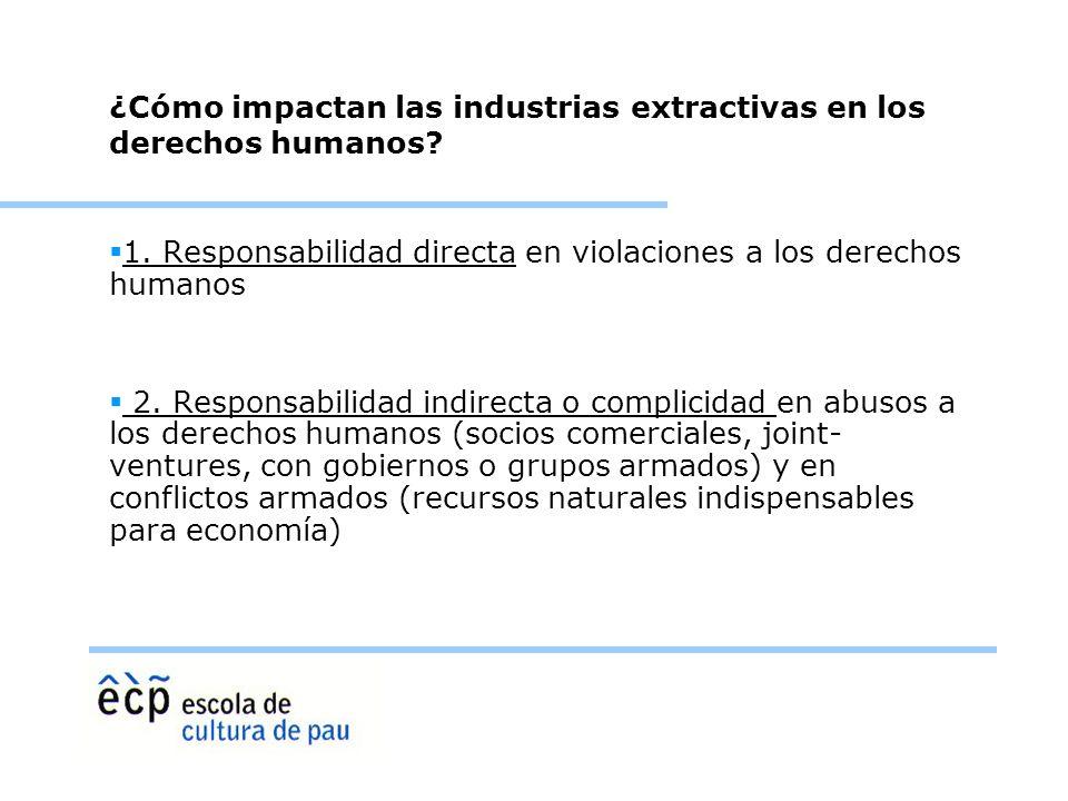 ¿Cómo impactan las industrias extractivas en los derechos humanos? 1. Responsabilidad directa en violaciones a los derechos humanos 2. Responsabilidad