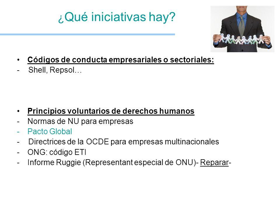 ¿ Qué iniciativas hay? Códigos de conducta empresariales o sectoriales: - Shell, Repsol… Principios voluntarios de derechos humanos -Normas de NU para