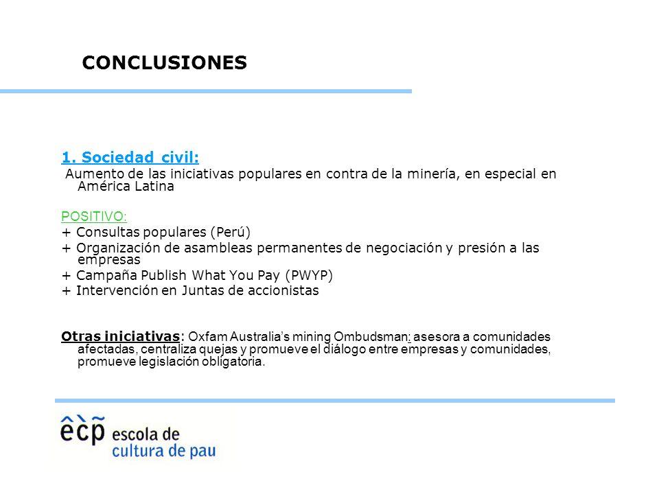 1. Sociedad civil: Aumento de las iniciativas populares en contra de la minería, en especial en América Latina POSITIVO: + Consultas populares (Perú)