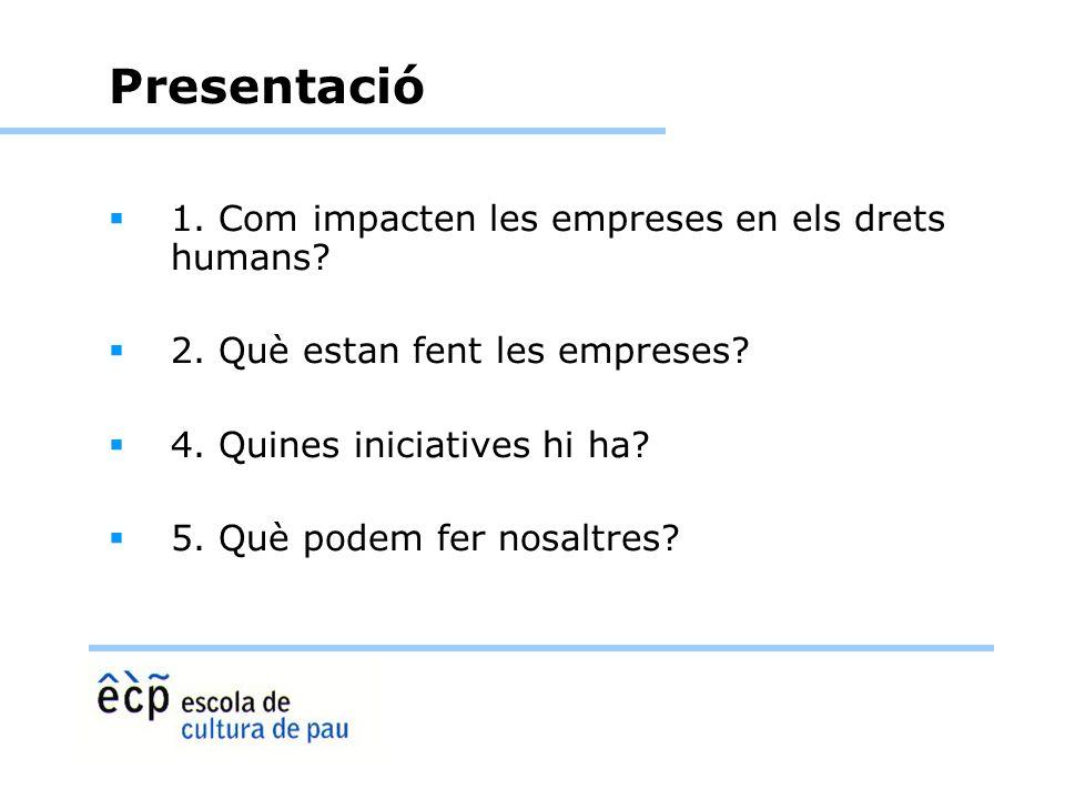 Presentació 1. Com impacten les empreses en els drets humans? 2. Què estan fent les empreses? 4. Quines iniciatives hi ha? 5. Què podem fer nosaltres?