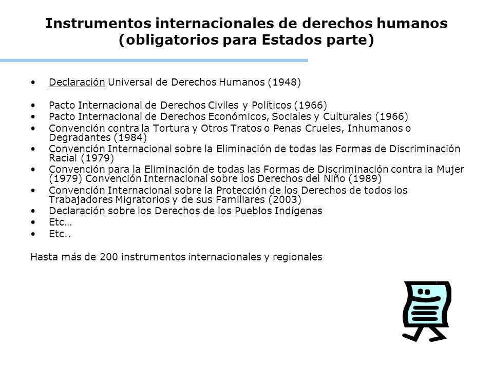 Instrumentos internacionales de derechos humanos (obligatorios para Estados parte) Declaración Universal de Derechos Humanos (1948) Pacto Internaciona