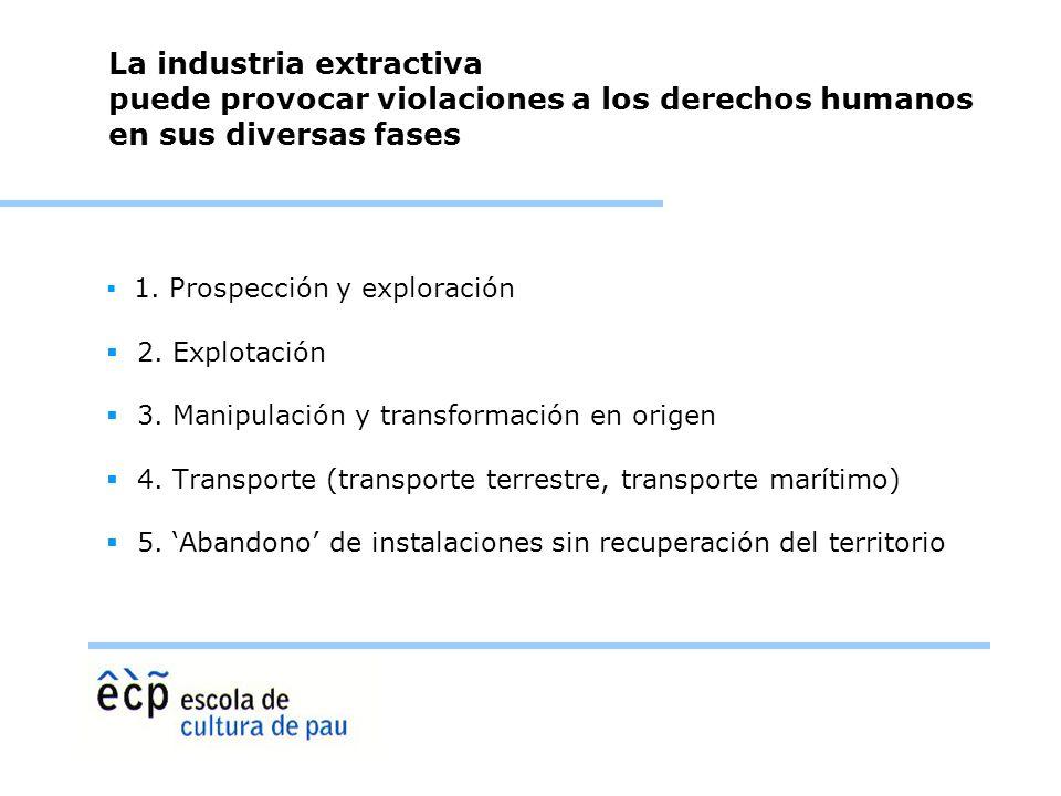 La industria extractiva puede provocar violaciones a los derechos humanos en sus diversas fases 1. Prospección y exploración 2. Explotación 3. Manipul