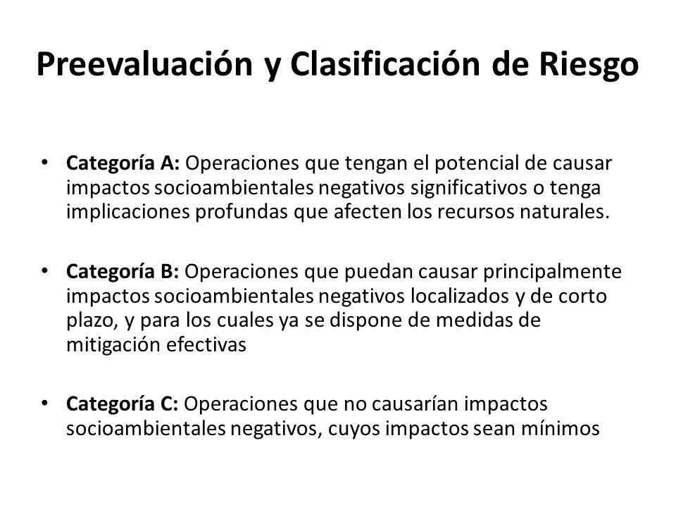 Preevaluación y Clasificación de Riesgo Categoría A: Operaciones que tengan el potencial de causar impactos socioambientales negativos significativos