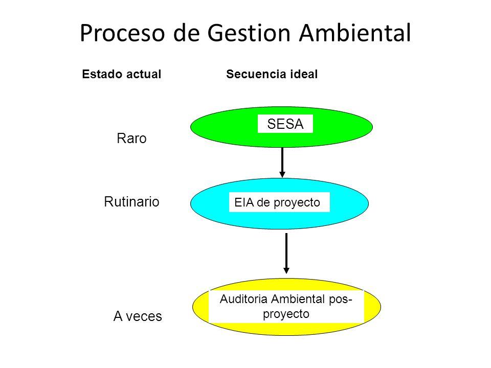 Proceso de Gestion Ambiental Raro Rutinario A veces Secuencia idealEstado actual SESA EIA de proyecto Auditoria Ambiental pos- proyecto