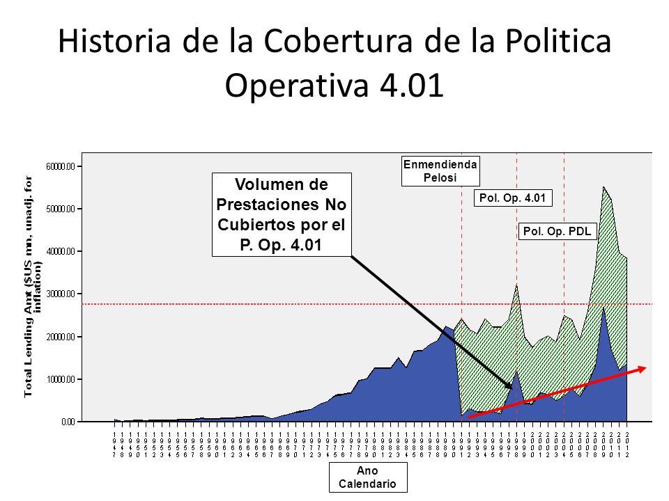 Historia de la Cobertura de la Politica Operativa 4.01 Enmendienda Pelosi Pol. Op. 4.01 Pol. Op. PDL Ano Calendario Volumen de Prestaciones No Cubiert