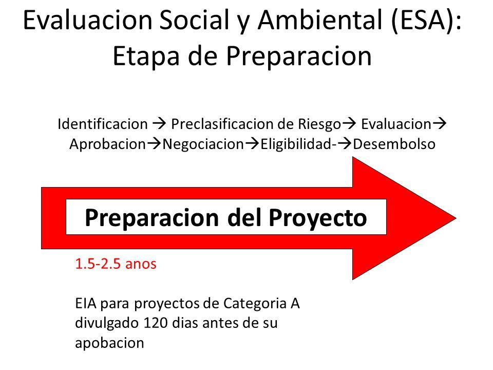 Evaluacion Social y Ambiental (ESA): Etapa de Preparacion Identificacion Preclasificacion de Riesgo Evaluacion Aprobacion Negociacion Eligibilidad- De