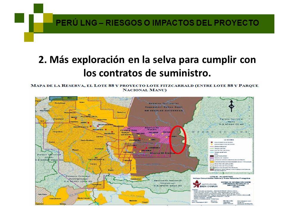 PERÚ LNG – RIESGOS O IMPACTOS DEL PROYECTO 2. Más exploración en la selva para cumplir con los contratos de suministro.