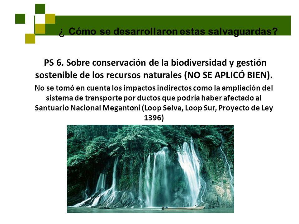 ¿ Cómo se desarrollaron estas salvaguardas? PS 6. Sobre conservación de la biodiversidad y gestión sostenible de los recursos naturales (NO SE APLICÓ