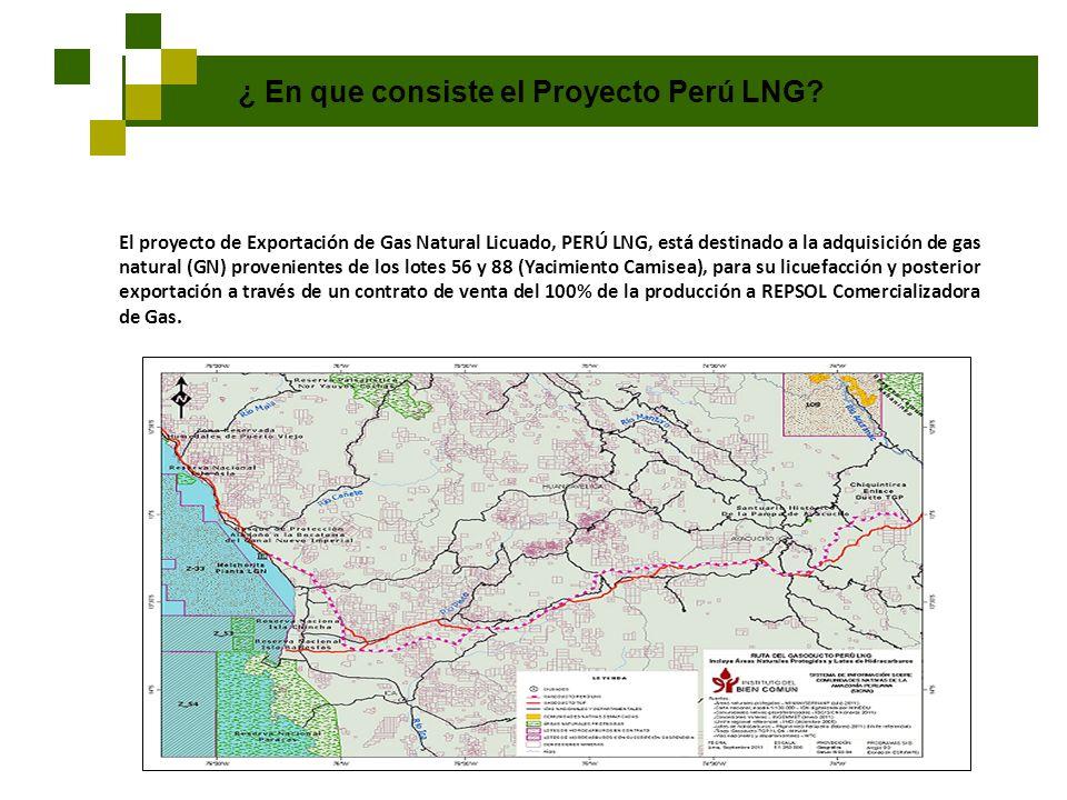 ¿ En que consiste el Proyecto Perú LNG? El proyecto de Exportación de Gas Natural Licuado, PERÚ LNG, está destinado a la adquisición de gas natural (G