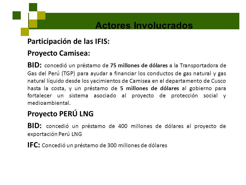 Actores Involucrados Participación de las IFIS: Proyecto Camisea: BID: concedió un préstamo de 75 millones de dólares a la Transportadora de Gas del P