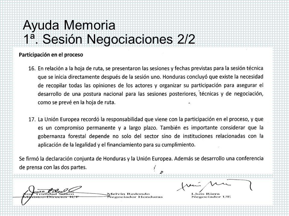 Ayuda Memoria 1ª. Sesión Negociaciones 2/2