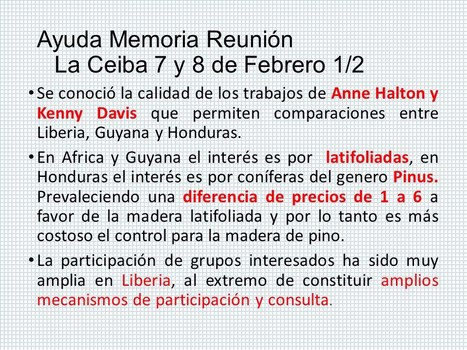 Ayuda Memoria Reunión La Ceiba 7 y 8 de Febrero 1/2 Se conoció la calidad de los trabajos de Anne Halton y Kenny Davis que permiten comparaciones entr