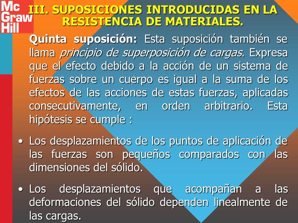 III. SUPOSICIONES INTRODUCIDAS EN LA RESISTENCIA DE MATERIALES. Quinta suposición: Esta suposición también se llama principio de superposición de carg