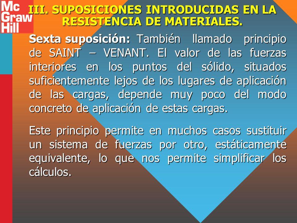 III. SUPOSICIONES INTRODUCIDAS EN LA RESISTENCIA DE MATERIALES. Sexta suposición:También llamado principio de SAINT – VENANT. El valor de las fuerzas