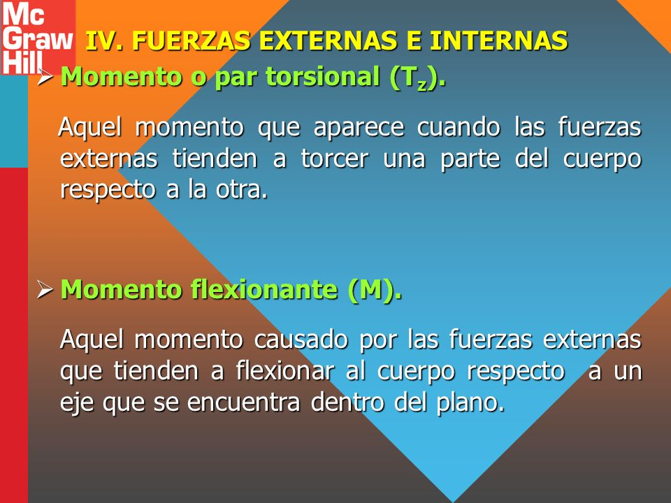 IV. FUERZAS EXTERNAS E INTERNAS Momento o par torsional (T z ). Momento o par torsional (T z ). Aquel momento que aparece cuando las fuerzas externas