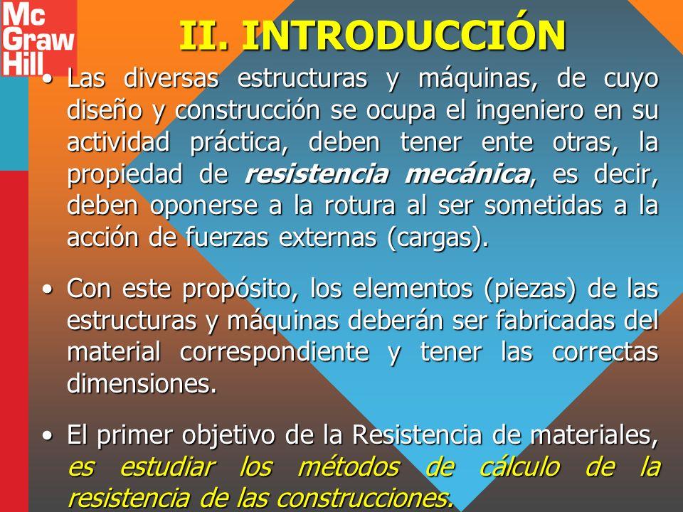 II. INTRODUCCIÓN Las diversas estructuras y máquinas, de cuyo diseño y construcción se ocupa el ingeniero en su actividad práctica, deben tener ente o