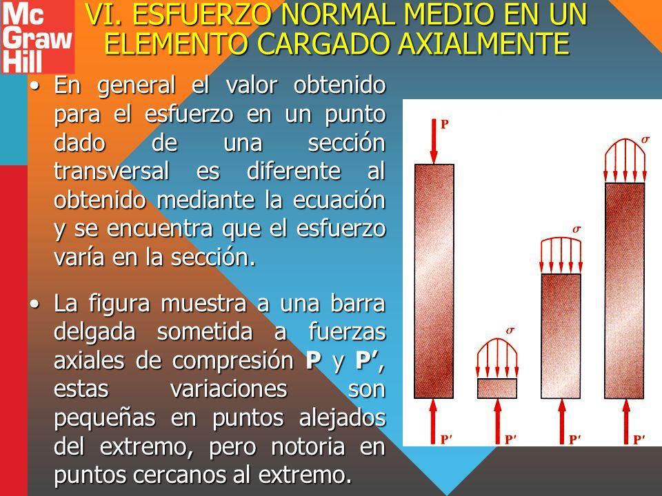 VI. ESFUERZO NORMAL MEDIO EN UN ELEMENTO CARGADO AXIALMENTE En general el valor obtenido para el esfuerzo en un punto dado de una sección transversal