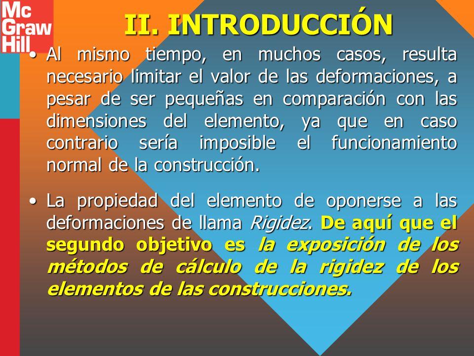 II. INTRODUCCIÓN Al mismo tiempo, en muchos casos, resulta necesario limitar el valor de las deformaciones, a pesar de ser pequeñas en comparación con