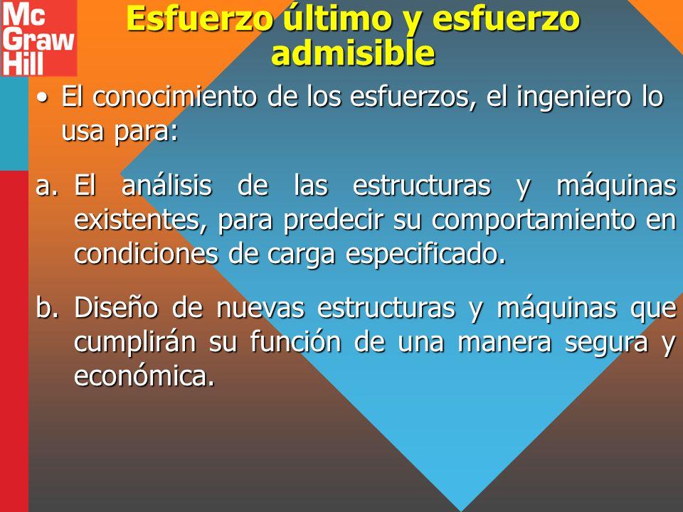 Esfuerzo último y esfuerzo admisible El conocimiento de los esfuerzos, el ingeniero lo usa para:El conocimiento de los esfuerzos, el ingeniero lo usa