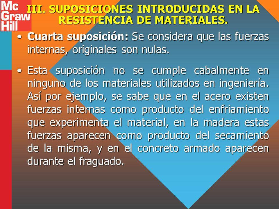 III. SUPOSICIONES INTRODUCIDAS EN LA RESISTENCIA DE MATERIALES. Cuarta suposición: Se considera que las fuerzas internas, originales son nulas.Cuarta