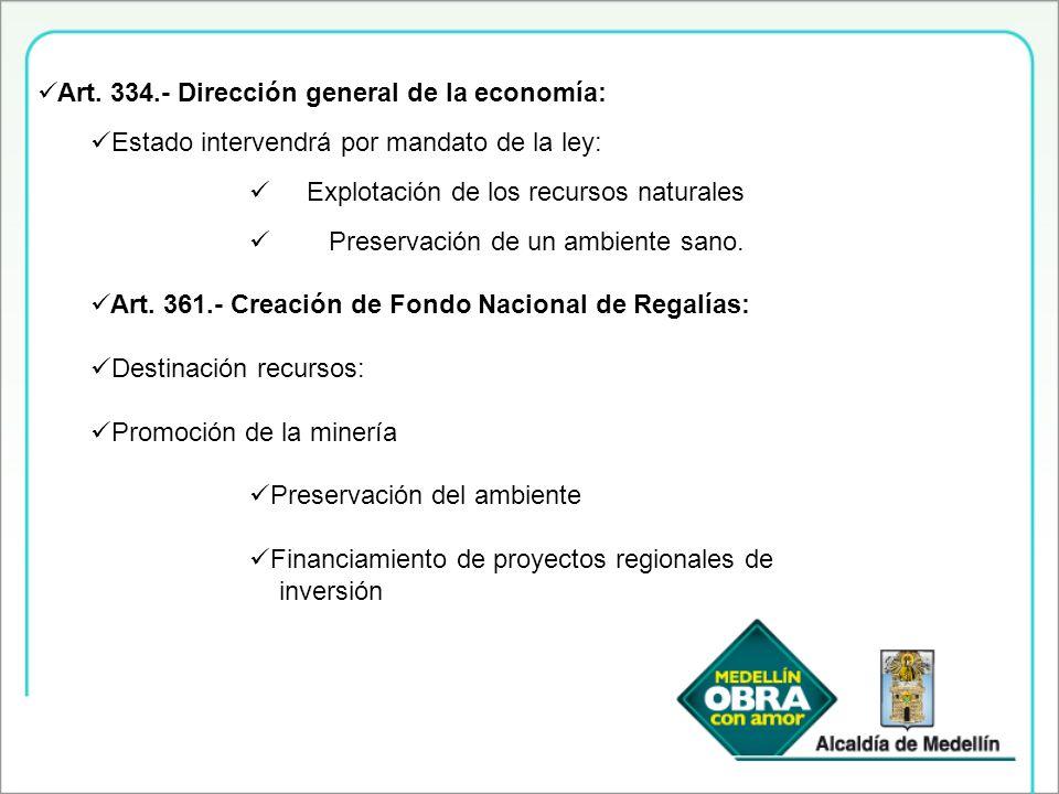 Art. 334.- Dirección general de la economía: Estado intervendrá por mandato de la ley: Explotación de los recursos naturales Preservación de un ambien
