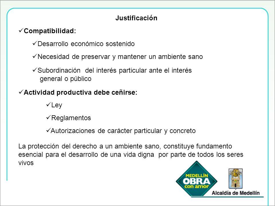 Justificación Compatibilidad: Desarrollo económico sostenido Necesidad de preservar y mantener un ambiente sano Subordinación del interés particular a