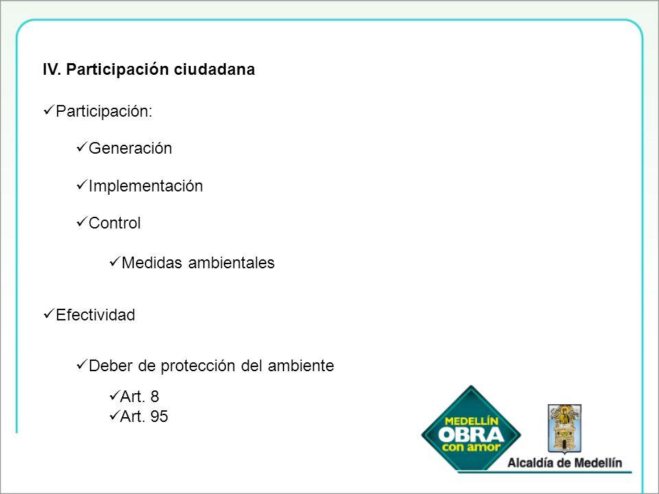 IV. Participación ciudadana Participación: Generación Implementación Control Medidas ambientales Efectividad Deber de protección del ambiente Art. 8 A