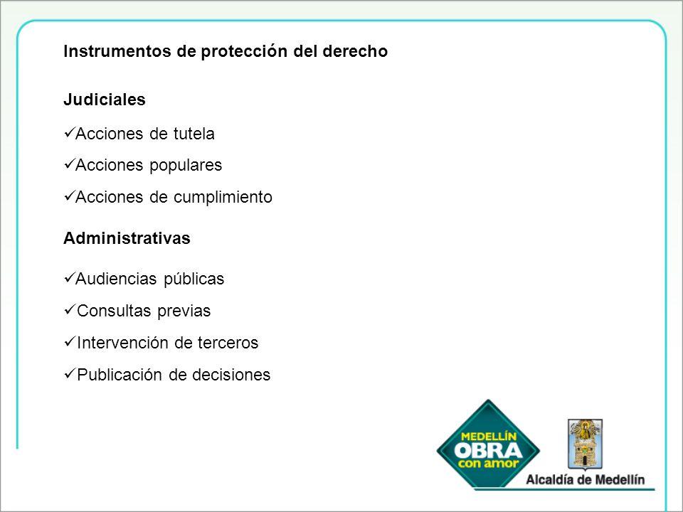 Instrumentos de protección del derecho Judiciales Acciones de tutela Acciones populares Acciones de cumplimiento Administrativas Audiencias públicas C