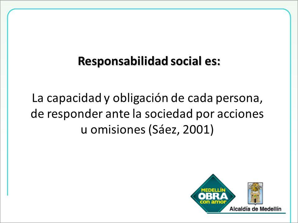 Responsabilidad social es: La capacidad y obligación de cada persona, de responder ante la sociedad por acciones u omisiones (Sáez, 2001)