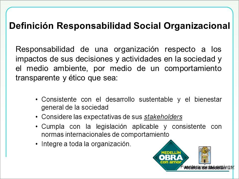 Responsabilidad de una organización respecto a los impactos de sus decisiones y actividades en la sociedad y el medio ambiente, por medio de un compor