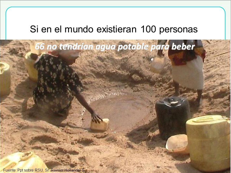 66 no tendrían agua potable para beber Si en el mundo existieran 100 personas Fuente: Ppt sobre RSU, Sr. Reinier Hollander S.
