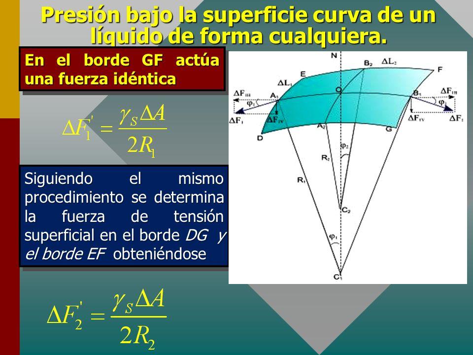 Presión bajo la superficie curva de un líquido de forma cualquiera. De donde obtenemos Esta ecuación se expresa en la forma