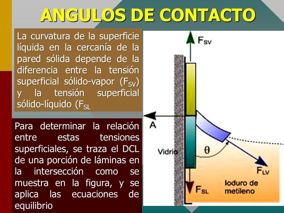 ANGULOS DE CONTACTO Debe notarse además que las láminas solo tienen espesores de algunas moléculas y a cada lámina se encuentra asociada una determina