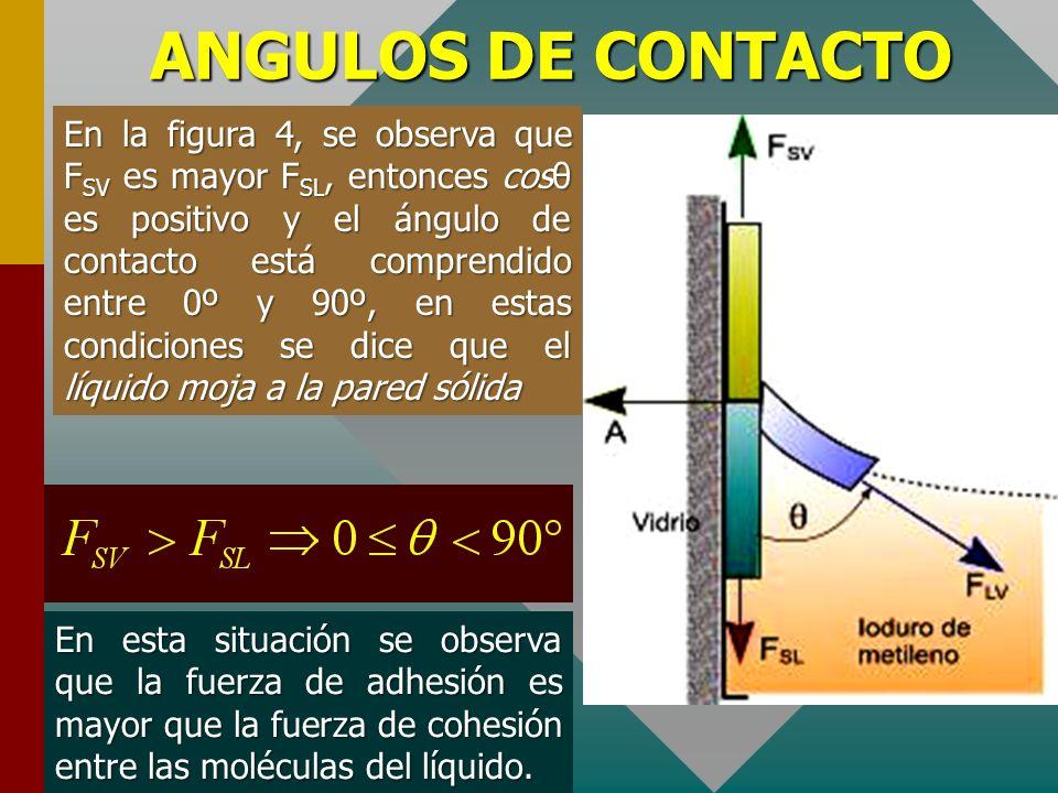 ANGULOS DE CONTACTO La primera ecuación nos permite determinar la fuerza de adhesión conocida la tensión superficial líquido-vapor y el ángulo de cont