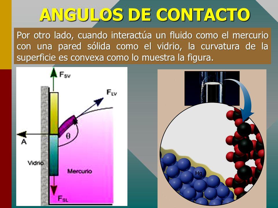 ANGULOS DE CONTACTO En la figura se muestra la interacción molecular del líquido con el sólido y el vapor. La fuerza de cohesión molecular es menor qu