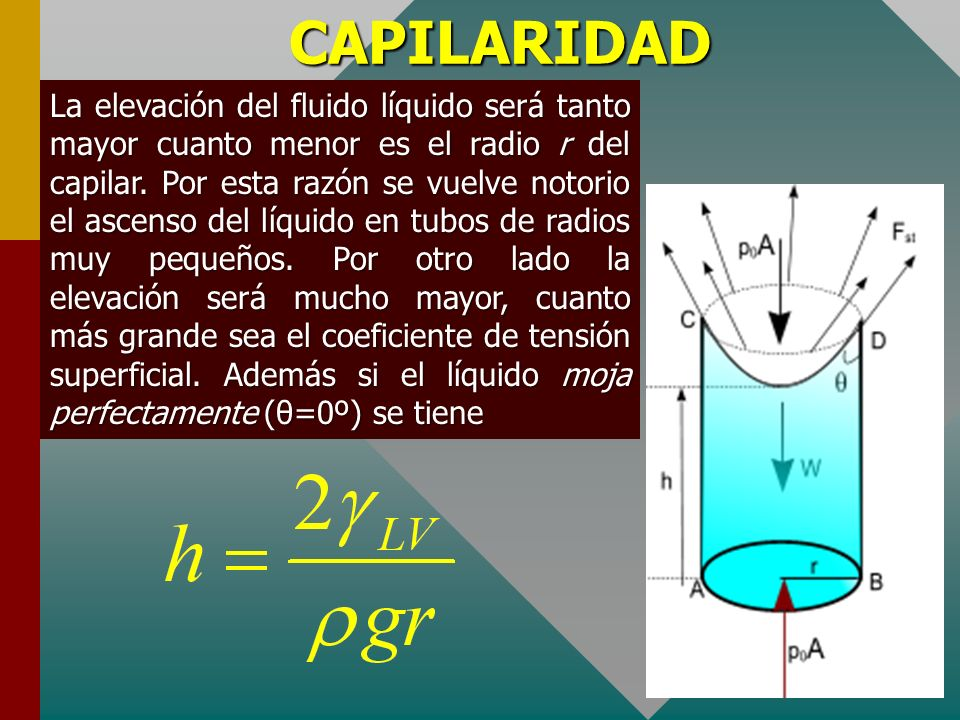 CAPILARIDAD Para determinar la altura h en primer lugar se traza el DCL de la masa líquida ABBCD que ascendió, como se muestra, sobre ella se observa