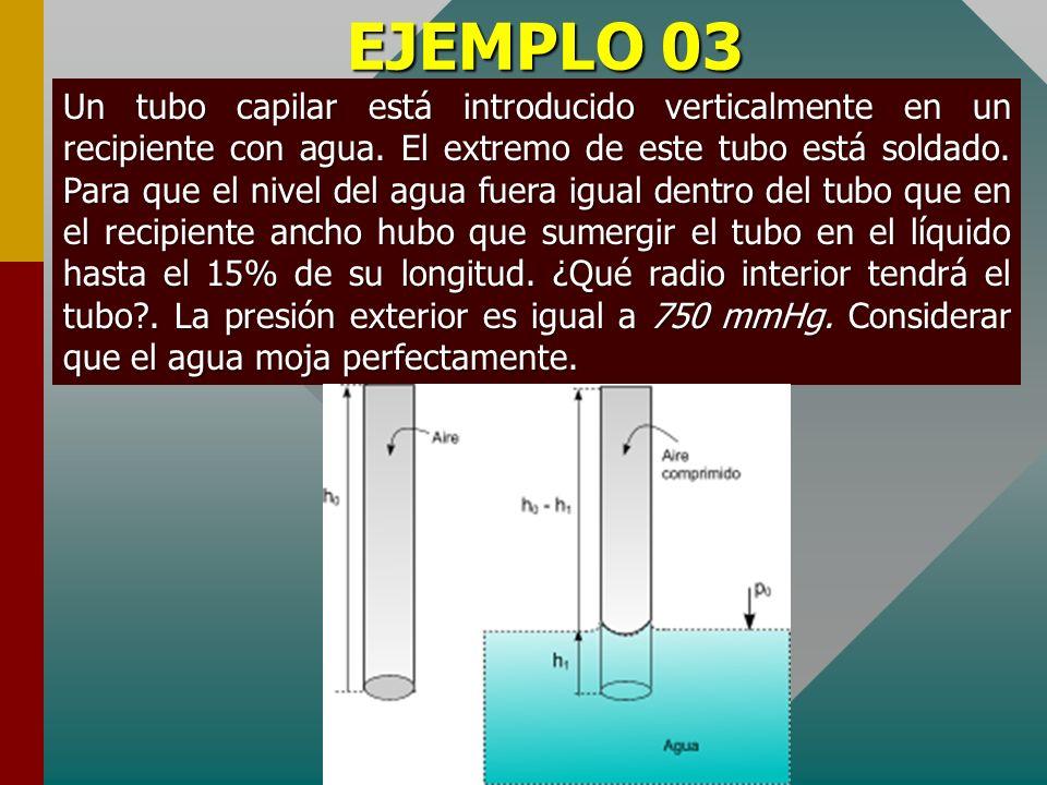 EJEMPLO 02 Un tubo capilar cuyo radio es r =0,16 mm está introducido verticalmente en un recipiente con agua. ¿Qué presión deberá ejercer el aire sobr