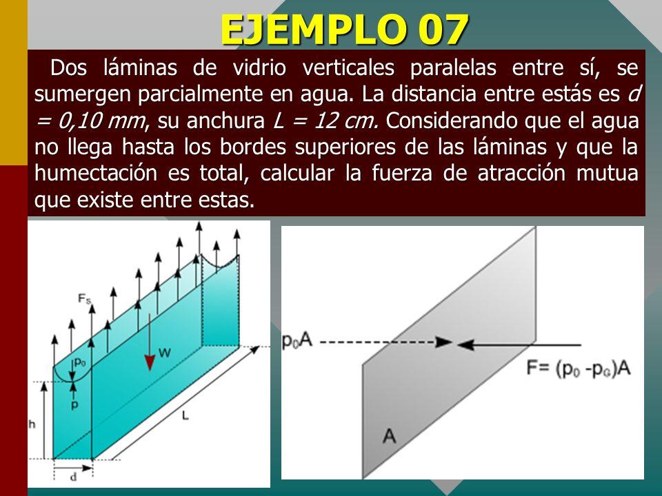 EJEMPLO 06 En un capilar de vidrio cuyo canal interno tiene un diámetro d 2 =2 mm se colocó concéntricamente, una barra de vidrio de diámetro d 1 = 1,