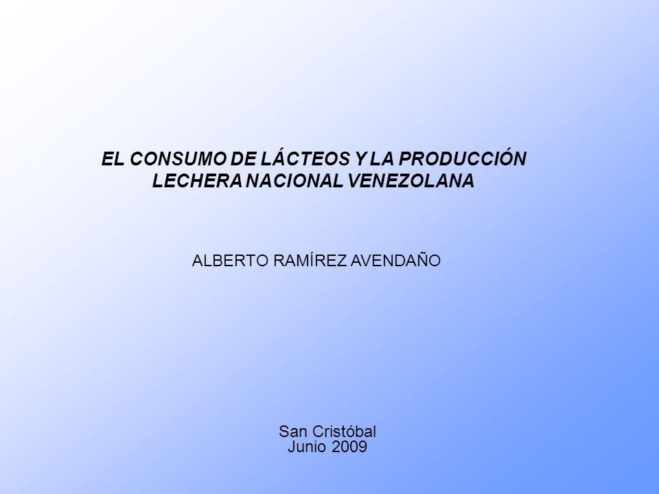 EL CONSUMO DE LÁCTEOS Y LA PRODUCCIÓN LECHERA NACIONAL VENEZOLANA San Cristóbal Junio 2009 ALBERTO RAMÍREZ AVENDAÑO
